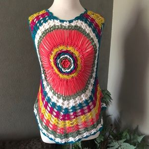 Colorful Lace Crochet Sleeveless Boutique Top NWOT